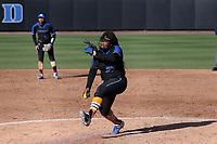DURHAM, NC - FEBRUARY 29: Brianna Butler #27 of Duke University pitches the ballBrianna Butler #27 during a game between Notre Dame and Duke at Duke Softball Stadium on February 29, 2020 in Durham, North Carolina.