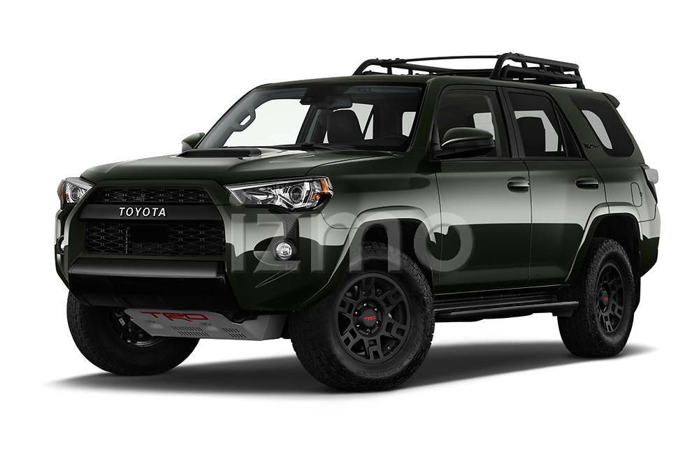 Stock pictures of low aggressive front three quarter view of 2020 Toyota 4Runner TRD-Pro 5 Door SUV Low Aggressive