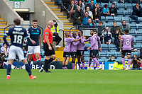 25th September 2021; Kilmac Stadium, Dundee, Scotland: Scottish Premiership football, Dundee versus Rangers; Joe Aribo of Rangers is congratulated after scoring for 1-0 by Kemar Roofe and Glen Kamara in the 16th minte