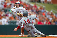 Texas Longhorns second baseman Brooks Marlow (8) turns a double play during the NCAA Super Regional baseball game against the Houston Cougars on June 7, 2014 at UFCU Disch–Falk Field in Austin, Texas. The Longhorns are headed to the College World Series after they defeated the Cougars 4-0 in Game 2 of the NCAA Super Regional. (Andrew Woolley/Four Seam Images)