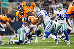 Denver Broncos running back Juwan Thompson (40) and Dallas Cowboys linebacker Dontavis Sapp (45) in action during the pre-season game between the Denver Broncos and the Dallas Cowboys at the AT & T stadium in Arlington, Texas. Denver leads Dallas 10 to 3 at halftime.