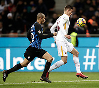 Calcio, Serie A: Inter - Roma, Milano, stadio Giuseppe Meazza (San Siro), 21 gennaio 2018.<br /> Roma's Patrik Schick (r) in action with Joao Miranda (l) during the Italian Serie A football match between Inter Milan and AS Roma at Giuseppe Meazza (San Siro) stadium, January 21, 2018.<br /> UPDATE IMAGES PRESS/Isabella Bonotto