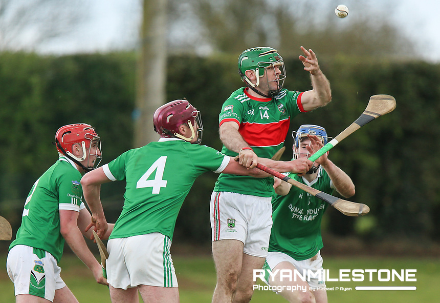 Ciaran McGrath in action against Michael Campion of Drom Inch during the Centenary Agri Mid Senior Hurling Championship Quarter Final between Loughmore/Castleiney and Drom Inch on Saturday 28th April 2018 at Templetuohy, Co Tipperary, Photo By Michael P Ryan