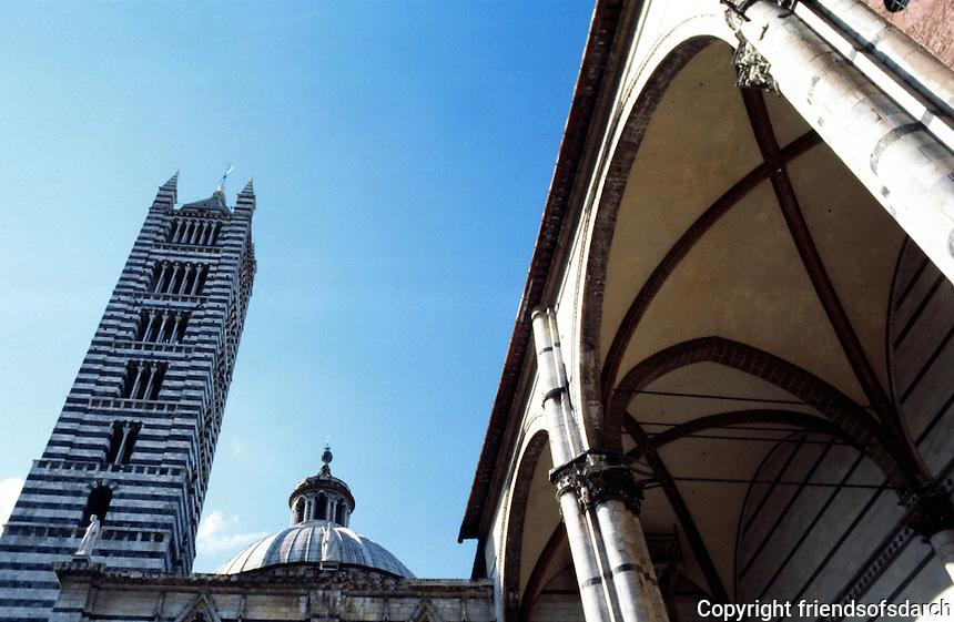 Siena:  Campanile and abandoned new Duomo.  Photo '83.