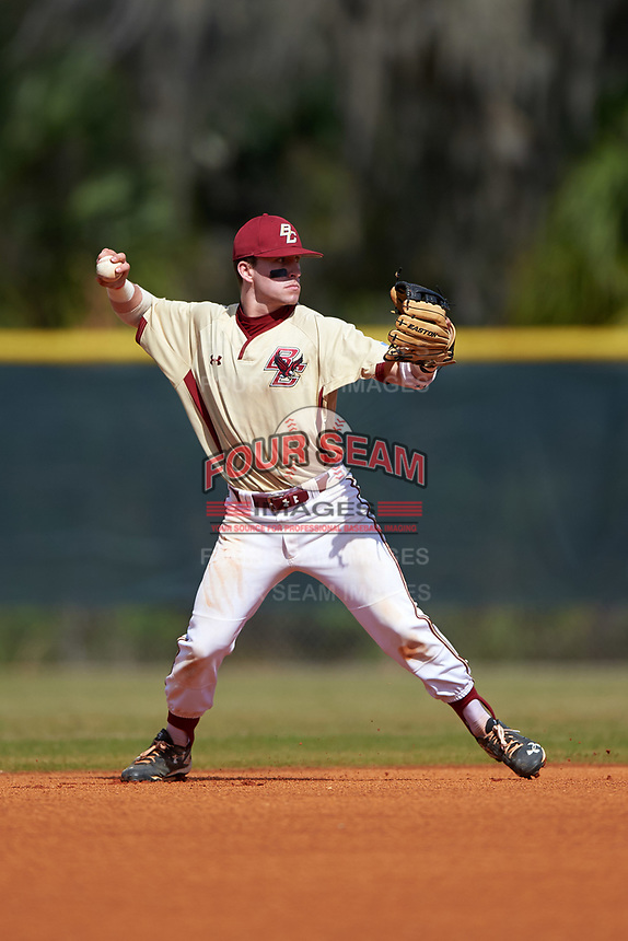 Boston College Eagles second baseman Jake Palomaki (11) during a game against the Central Michigan Chippewas on March 8, 2016 at North Charlotte Regional Park in Port Charlotte, Florida.  Boston College defeated Central Michigan 9-3.  (Mike Janes/Four Seam Images)