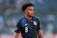 DENVER, CO - JUNE 3: Weston McKennie #8 of the United States during a game between Honduras and USMNT at Empower Field at Mile High on June 3, 2021 in Denver, Colorado.