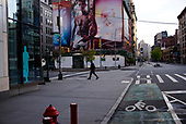 April 21, 2020<br /> New York, New York<br /> <br /> Houston and Lafayette streets in Manhattan after sunrise during the height of the coronavirus pandemic.