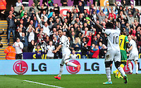 Swansea v Norwich, Liberty stadium Swansea, Saturday 29th March 2014<br /> <br /> Photographs by Amy Husband<br /> <br /> Swansea's Jonathan De Guzman opening the score sheet