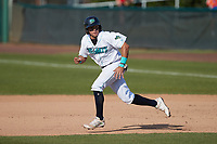Christian Cairo (12) of the Lynchburg Hillcats takes off for second base during the game against the Myrtle Beach Pelicans at Bank of the James Stadium on May 23, 2021 in Lynchburg, Virginia. (Brian Westerholt/Four Seam Images)