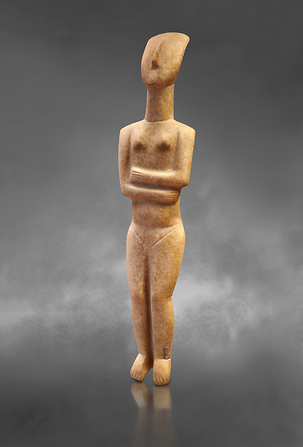Marble female Cycladic statue figurine with folded arms of the Spedos type. Early Cycladic Period II (2800-2300 BC) from Naxos, Cat No 6195. National Archaeological Museum, Athens.   Gray background.<br /> <br /> <br /> This Cycladic statue figurine is of the Spedos type standing on tip tie with bended knees and arms folded under the breasts with head raiised.