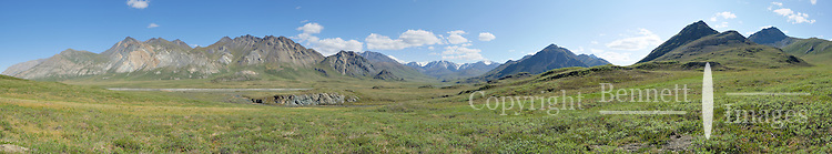The Hulahula River headwaters form in Alaska's Brooks Range and flow north to the Coastal Plain in the Arctic National Wildlife Refuge. STITCHED PANORAMA