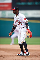 Rochester Red Wings first baseman Kennys Vargas (35) during a game against the Indianapolis Indians on May 26, 2016 at Frontier Field in Rochester, New York.  Indianapolis defeated Rochester 5-2.  (Mike Janes/Four Seam Images)