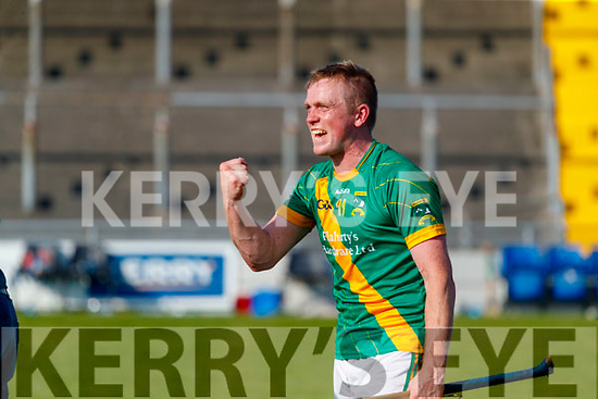 Daniel Collins, Kilmoyley Kilmoyley players celebrate after winning the Kerry County Senior Hurling Championship Final match between Kilmoyley and Causeway at Austin Stack Park in Tralee