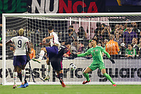 LAS VEGAS, NV - AUGUST 1: Miles Robinson #12 of the United States shoots and scores on Alfredo Talavera #1 of Mexico during a game between Mexico and USMNT at Allegiant Stadium on August 1, 2021 in Las Vegas, Nevada.