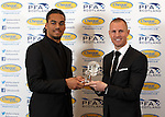 Young player of the year Jason Denayer with Kenny Miller