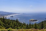 Views south from 200' high Cape Sebastion on the southern Oregon coast extend all the way to Crescent City California.  Cape Sebastian State Park and Cape Sebastian Scenic Corridor provide hiking and beach opportunities.