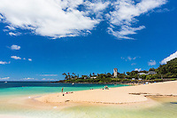 Swimmers, sunbathers and others enjoy Waimea Bay Beach Park on the North Shore of O'ahu.