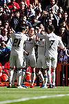 Gareth Bale of Real Madrid celebrates with teammates during their La Liga match between Real Madrid and Deportivo Leganes at the Estadio Santiago Bernabéu on 06 November 2016 in Madrid, Spain. Photo by Diego Gonzalez Souto / Power Sport Images
