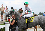4 July 2010: INFORMED DECISION with jockey Julian Leparoux comes back to the paddock after winning the 22nd running of the G3 Chicago Handicap at Arlington Park in Arlington Heights, Illinois.