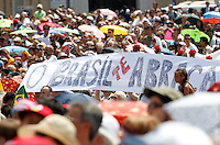 """Papa Francesco recita l'Angelus dalla finestra del suo studio, Piazza San Pietro, Citta' del Vaticano, 21 luglio 2013.<br /> Faithful exhibit a banner reading, in Portuguese, """"Brazil embraces you"""" as Pope Francis, not seen, recites the Angelus prayer on the eve of his departure to Brazil to preside at the World Day of Youth, from his studio window overlooking St. Peter's Square, Vatican, 21 July 2013.<br /> UPDATE IMAGES PRESS/Riccardo De Luca<br /> <br /> STRICTLY ONLY FOR EDITORIAL USE"""
