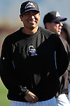 Mexican pitcher pitcher Jorge De La Rosa of Colorado Rockies  during the Spring Trainig 2013 in Sports Complex Salt River Fields at Talking Stick in Arizona. February 24, 2013