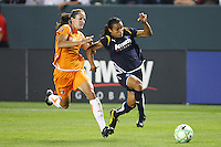 Marta #10 of the Los Angeles Sol chases a loose ball against  Keeley Downing #17 of Sky Blue FC during their WPS game at Home Depot Center on May 15, 2009 in Carson, California.