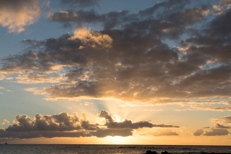Clouds and sunset over Kauai, Hawaii.