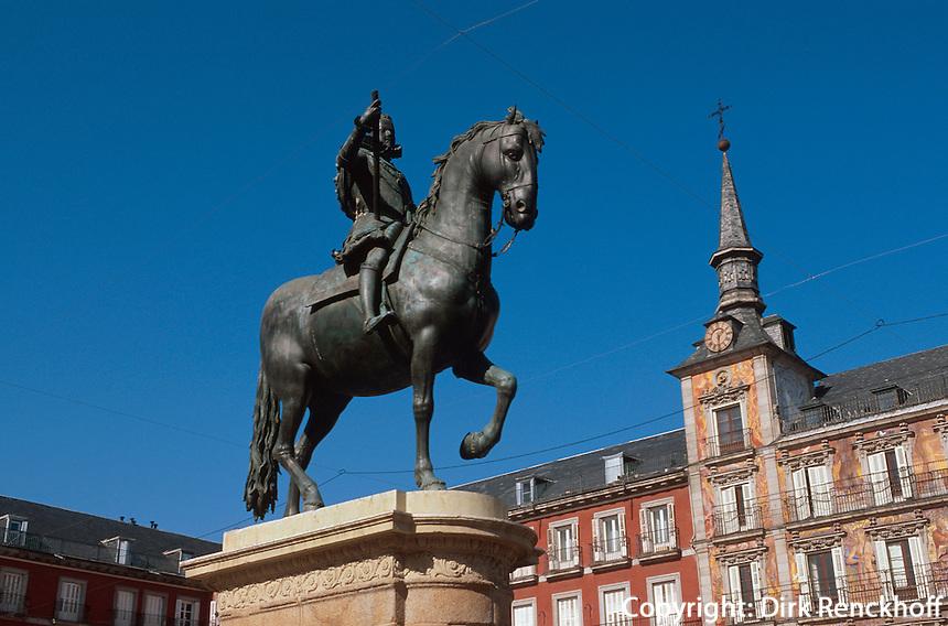 Spanien, Denkmal Felipe III auf der Plaza Mayor in Madrid