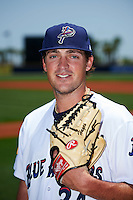 Pensacola Blue Wahoos pitcher Drew Hayes (24) poses for a photo before a double header against the Biloxi Shuckers on April 26, 2015 at Pensacola Bayfront Stadium in Pensacola, Florida.  (Mike Janes/Four Seam Images)