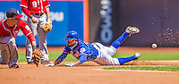 21 April 2013: New York Mets outfielder Jordany Valdespin slides safely into second during the first inning against the Washington Nationals at Citi Field in Flushing, NY. The Mets shut out the visiting Nationals 2-0, taking the rubber match of their 3-game weekend series. Mandatory Credit: Ed Wolfstein Photo *** RAW (NEF) Image File Available ***