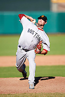 Surprise Saguaros pitcher Ryan Pressly #37, of the Boston Red Sox organization, during an Arizona Fall League game against the Scottsdale Scorpions at Scottsdale Stadium on October 16, 2012 in Scottsdale, Arizona.  Surprise defeated Scottsdale 11-3.  (Mike Janes/Four Seam Images)