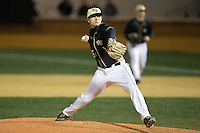 Wake Forest Demon Deacons relief pitcher John McCarren (45) delivers a pitch to the plate against the Delaware Blue Hens at Wake Forest Baseball Park on February 13, 2015 in Winston-Salem, North Carolina.  The Demon Deacons defeated the Blue Hens 3-2.  (Brian Westerholt/Four Seam Images)