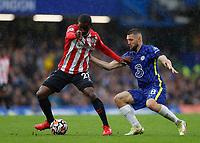2nd October 2021; Stamford Bridge, Chelsea, London, England; Premier League football Chelsea versus Southampton; Mateo Kovacic of Chelsea held off by Ibrahima Diallo of Southampton
