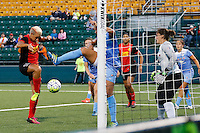 Rochester, NY - Friday July 01, 2016: Western New York Flash midfielder Lianne Sanderson (10) scores her first goal as a Flash Player during a regular season National Women's Soccer League (NWSL) match between the Western New York Flash and the Chicago Red Stars at Rochester Rhinos Stadium.