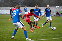 8th November 2020; SkyEx Community Stadium, London, England; Football Association Cup, Hayes and Yeading United versus Carlisle United; Omar Rowe of Hayes & Yeading United shoots and scores his sides 1st goal in the 104th minute to make it 1-0