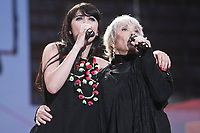 """Nolwenn Leroy and Louise Forestier perform at the """"Paris-Quebec"""" show of the 44th Festival d'ete de Quebec on the Plains of Abraham in Quebec city Thursday July 7, 2011."""