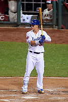 Los Angeles Dodgers Joc Pederson bats during the MLB All-Star Game on July 14, 2015 at Great American Ball Park in Cincinnati, Ohio.  (Mike Janes/Four Seam Images)