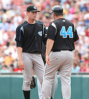 """Syracuse Chiefs starting pitcher Stephen Strasburg (37) talks to manager Trent Jewett in the third inning during a game vs. the Buffalo Bisons at Coca-Cola Field in Buffalo, New York;  Thursday June 3, 2010.  Syracuse defeated Buffalo by the score of 7-1 as Strasburg picked up his fourth win of the season in """"AAA"""".  Photo By Mike Janes/Four Seam Images"""