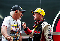 xSep 27, 2020; Gainesville, Florida, USA; NHRA top fuel driver Steve Torrence (right) celebrates with Don Garlits after winning the Gatornationals at Gainesville Raceway. Mandatory Credit: Mark J. Rebilas-USA TODAY Sports