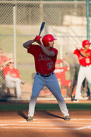 AZL Angels designated hitter Kiki Menendez (19) at bat during an Arizona League game against the AZL Giants Black at the San Francisco Giants Training Complex on July 1, 2018 in Scottsdale, Arizona. The AZL Giants Black defeated the AZL Angels by a score of 4-2. (Zachary Lucy/Four Seam Images)