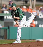 Winning pitcher Dillon Napoleon (24) of the University of Alabama-Birmingham in a Game against the Clemson Tigers on Feb. 17, 2012, at Doug Kingsmore Stadium in Clemson, South Carolina. (Tom Priddy/Four Seam Images)