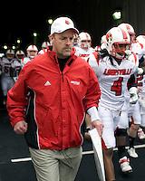 November 08, 2008: Louisville head coach Steve Kragthorpe. The Pitt Panthers defeated the Louisville Cardinals 41-7 on November 08, 2008 at Heinz Field, Pittsburgh, Pennsylvania.