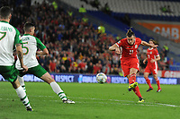 Gareth Bale of Wales  has a shot during the UEFA Nations League B match between Wales and Ireland at Cardiff City Stadium in Cardiff, Wales, UK.September 6, 2018