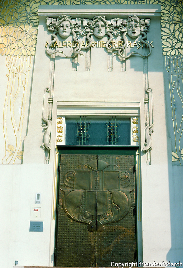Josef Maria Olbrich: House of the Secession, Vienna. Entry door. The gorgons represent architecture, sculpture and pictorial art . Photo '87.