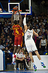 Real Madrid´s Ioannis Bourousis and Galatasaray´s Young during 2014-15 Euroleague Basketball match between Real Madrid and Galatasaray at Palacio de los Deportes stadium in Madrid, Spain. January 08, 2015. (ALTERPHOTOS/Luis Fernandez)