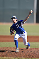 Kansas City Royals pitcher Hunter Haynes (67) during an Instructional League game against the Cincinnati Reds on October 16, 2014 at Goodyear Training Facility in Goodyear, Arizona.  (Mike Janes/Four Seam Images)