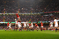 Pictured: Cory Hill of Wales claims the lineout during the Guinness six nations match between Wales and England at the Principality Stadium, Cardiff, Wales, UK.<br /> Saturday 23 February 2019