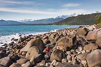 Coastal landscape along the Gulf of Alaska and the fairweather mountain range.
