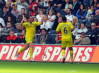 Saturday, 06 October 2012<br /> Pictured L-R: Noel Hunt of Reading celebrating the second goal for his team with team mate Adrian Mariappa.<br /> Re: Barclays Premier League, Swansea City FC v Reading at the Liberty Stadium, south Wales.