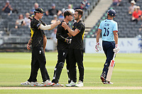 Matt Taylor of Gloucestershire celebrates with his team mates after taking the wicket of Sir Alastair Cook during Gloucestershire vs Essex Eagles, Royal London One-Day Cup Cricket at the Bristol County Ground on 3rd August 2021